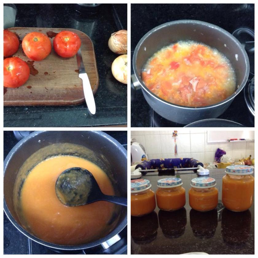 Com quatro tomates e duas cebolas, enchi cerca de 6 potes dos pequenos.